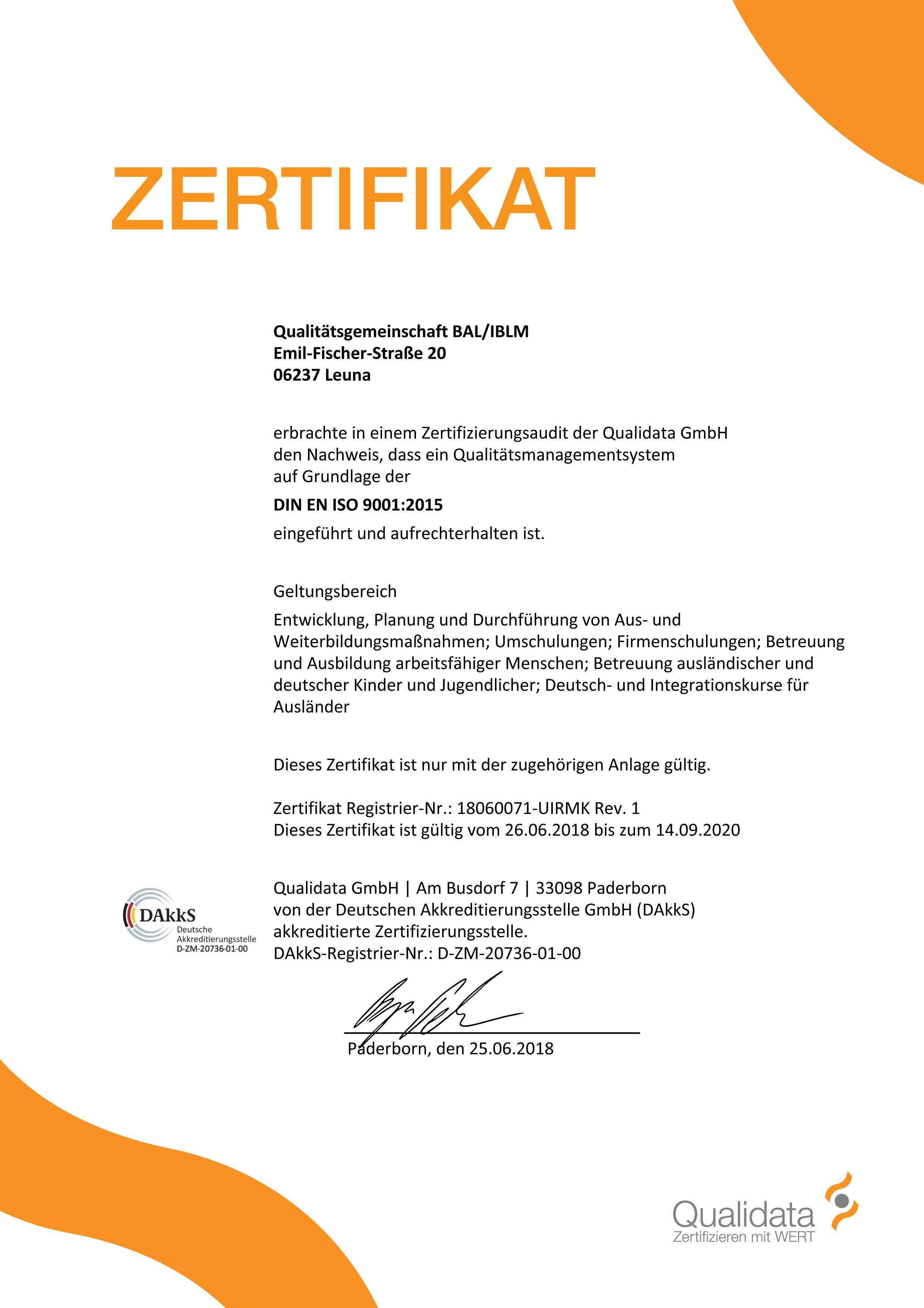 Bal Bildungsakademie Leuna Zertifizierung